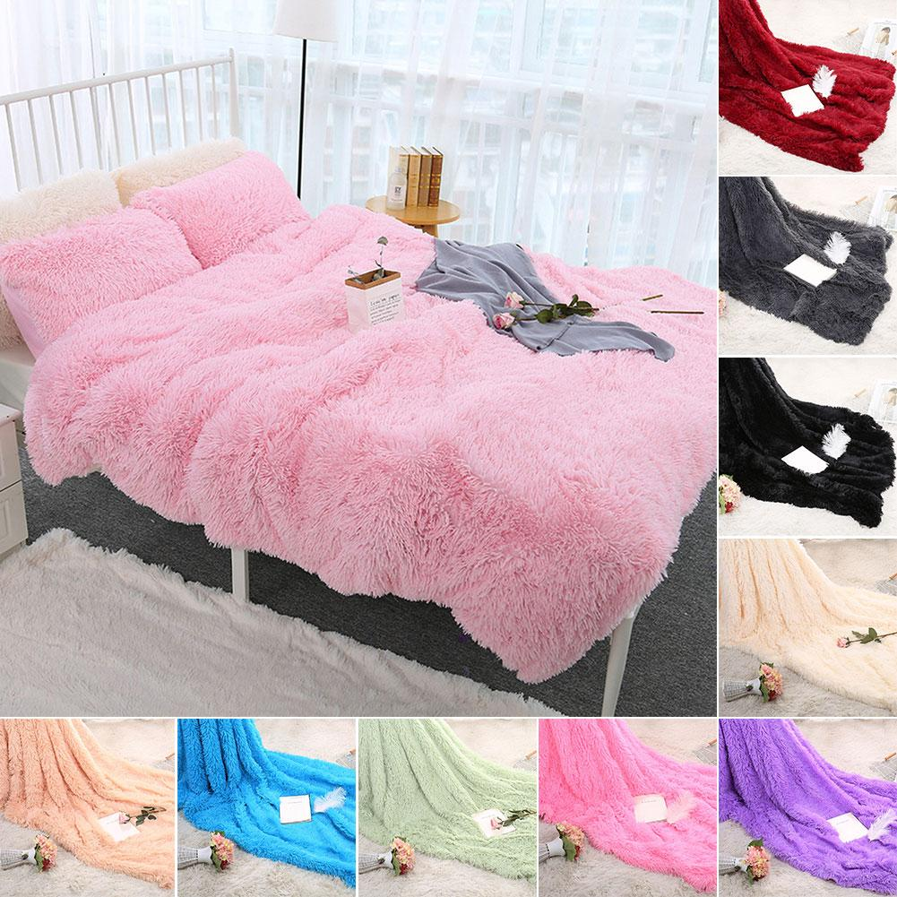 80x120cm Soft Blanket Fluffy Shaggy Warm Bed Sofa Bedspread Bedding Sheet Throw Blanket Solid Color Blanket Comfortable Bedding