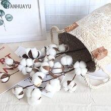 Naturalmente secado algodão fazenda artificial flor filler ramo floral para diy festa de casamento decoração flores falsas decoração para casa