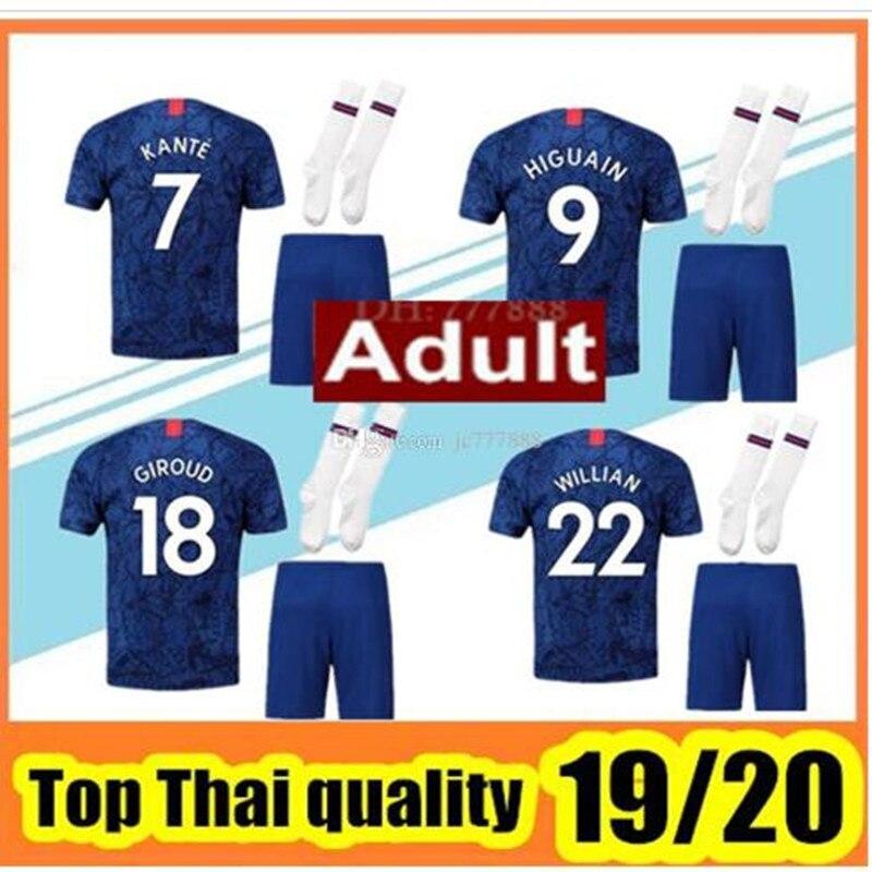 quality design ab948 fe825 US $26.25 25% OFF|adults kit Chelsea jerseys 2019 2020 New HAZARD KANTE  home Away soccer jerseys PULISIC HUDSON ODOI HIGUAIN WILLIAN Chelsea  shirt-in ...