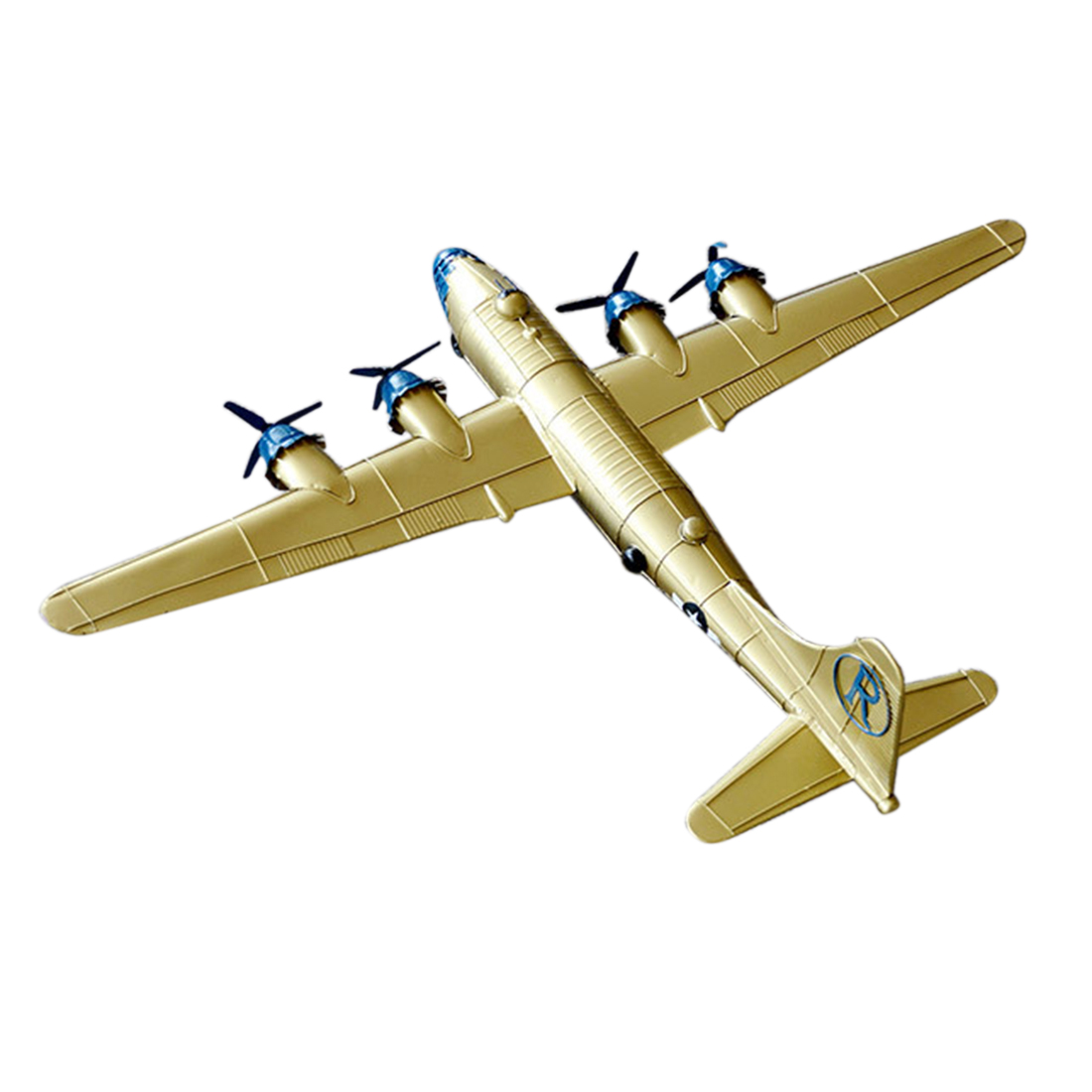 90 X 65 X 15cm Static Iron Art Aircraft Model Airplane Ornament Home Decor Decoration Accessories For Living Room - Golden Blue image