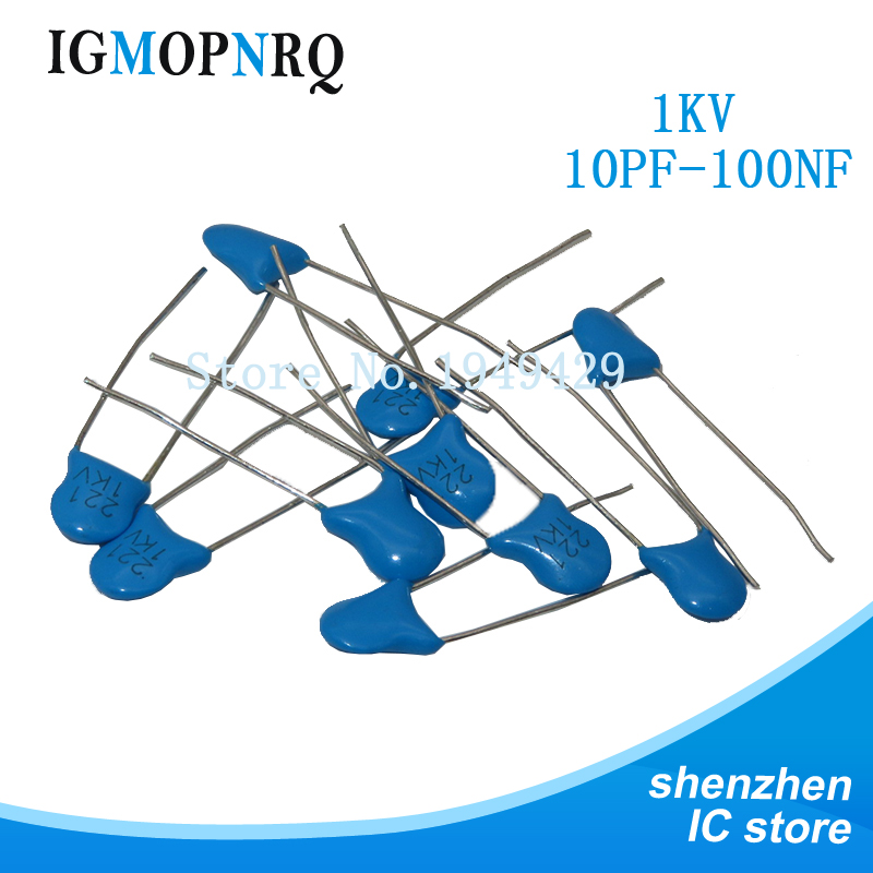 20pcs High Voltage Ceramic Capacitor 1KV 33PF 82PF 100PF 220PF 470PF 560PF 1NF 2.2NF 4.7NF 10NF 22NF 100NF 471 222 223 471 103