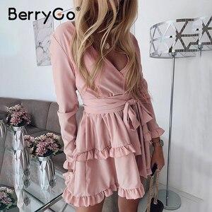 Image 2 - BerryGo à manches longues à volants rose femmes robe haute wasit robe dété élégant col en v streetwear chic dames robe de soirée courte 2020