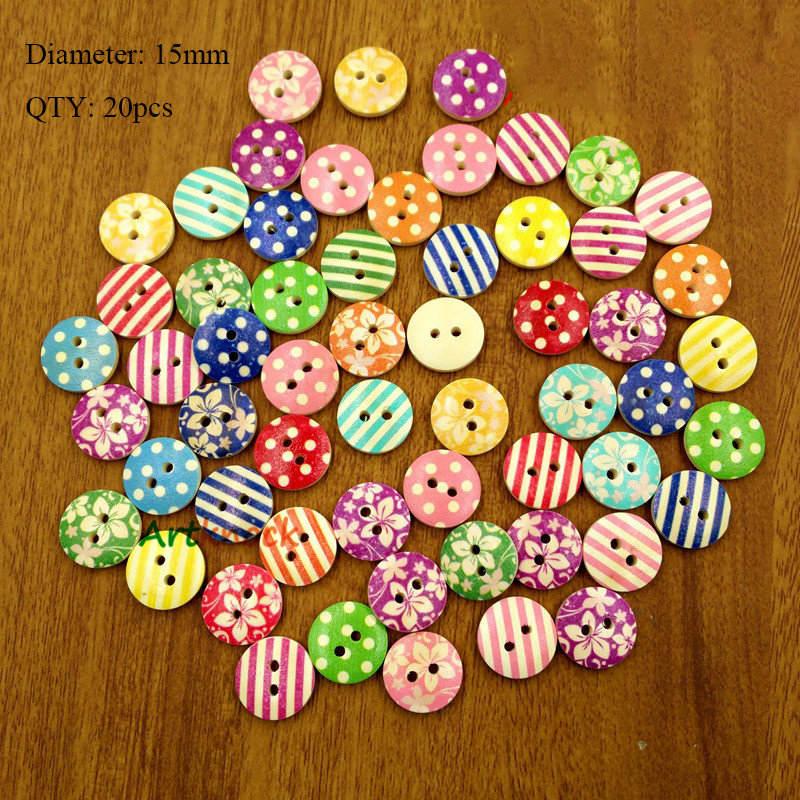 20 шт деревянные пуговицы для рукоделия, аксессуары для скрапбукинга, декорации, botones de madera para manualidades - Цвет: K11
