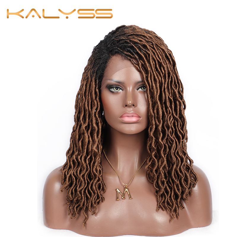 "Kalyss Lace Front Wigs With Baby Hairs 18"" Dread Faux Locs Braids Ombre Brown Braided Twist Wigs For Black Women Synthetic Fully"