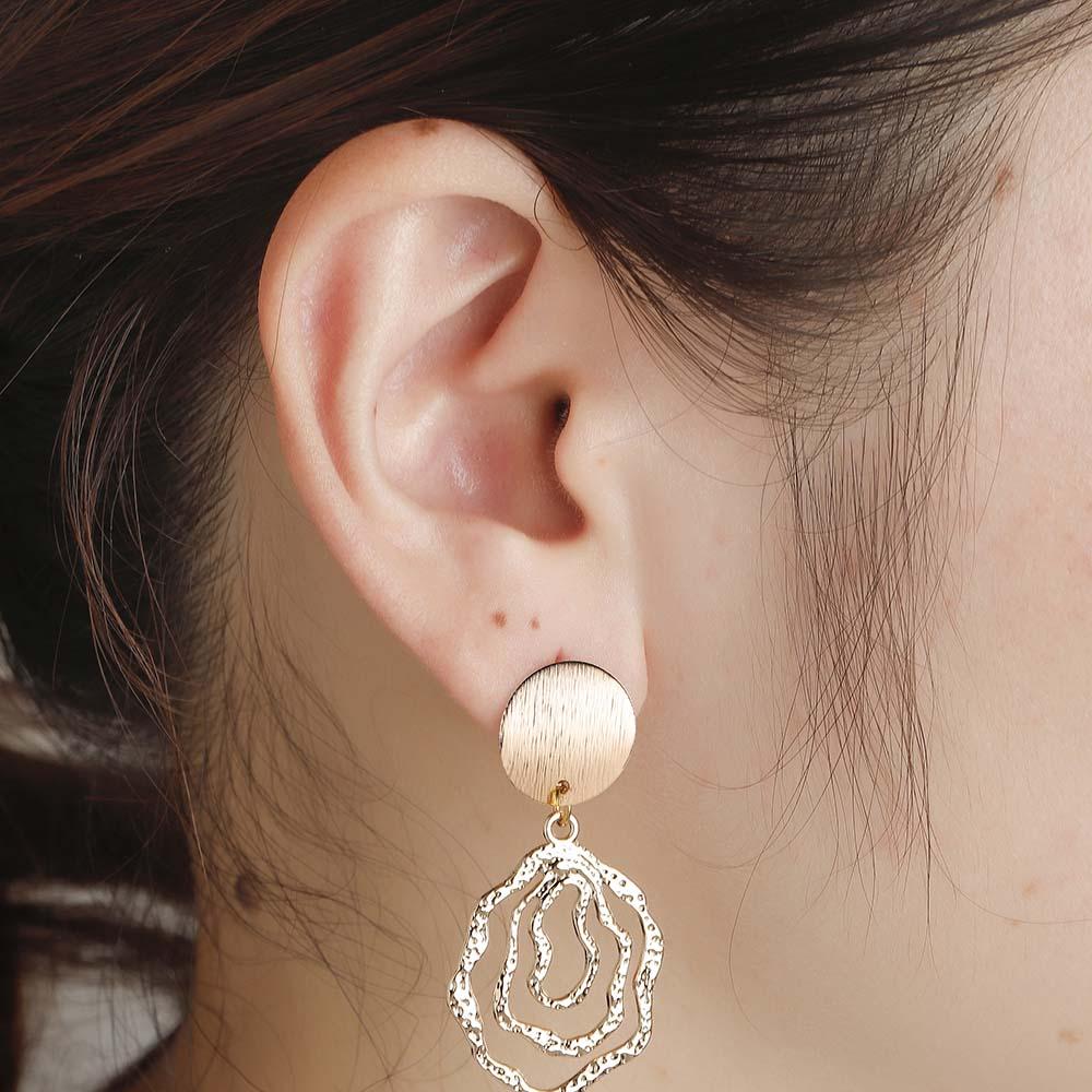 KinitialFashion Geometric Hollow Dangle Earrings Cute Swirl Drop Earrings for Women Statement Jewelry Gift Brincos Earrings