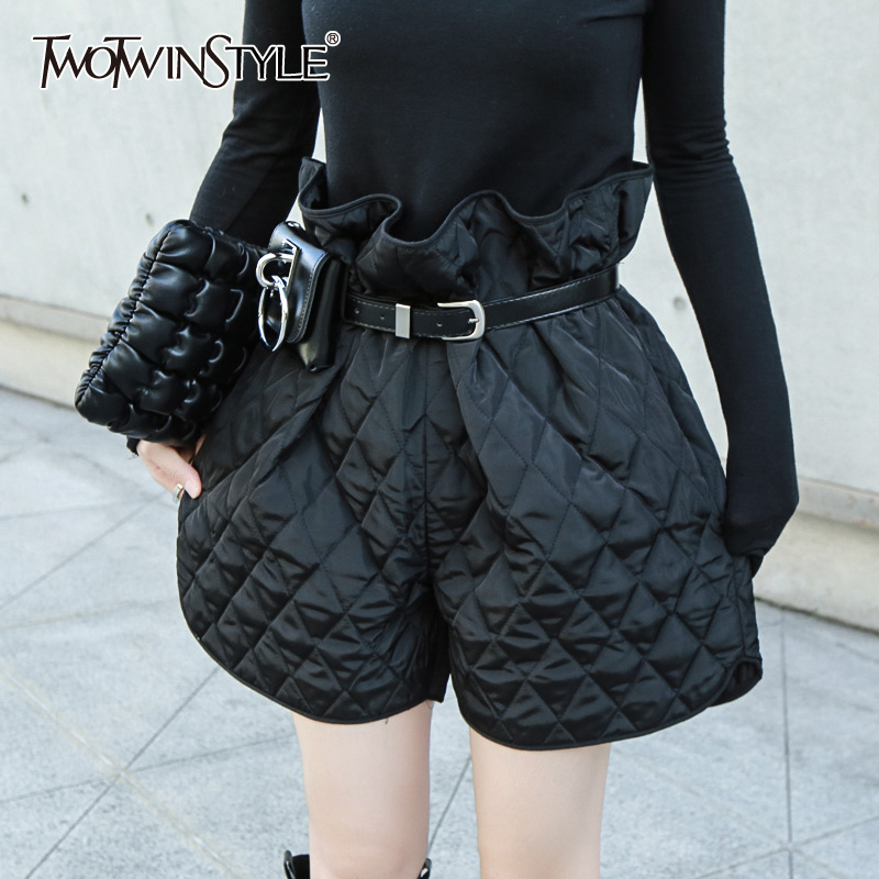 TWOTWINSTYLE Casual Plaid Ruffles Shorts For Female High Waist With Sashes Loose Cotton Women's Short Pants 2019 Fashion Clothes