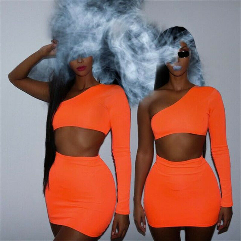 Hirigin 2 Piece Set Women Festival Clothing Two Piece Sets Sexy Neon Crop Tops + Skirt Set One Shoulder Tracksuits Matching Sets