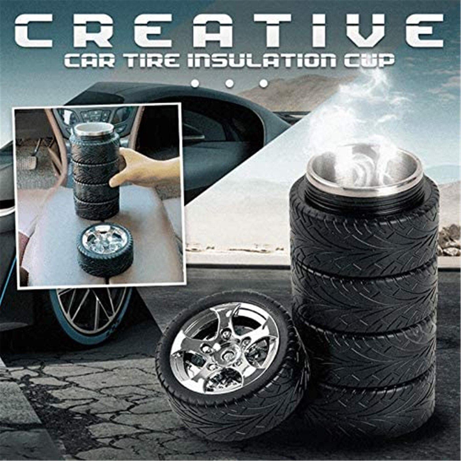 Thermos en acier inoxydable, forme de pneu de voiture créative de 320ml, tasses, flacons sous vide, tasse de café, tasse de voyage, bouteille disolation thermique