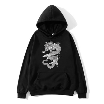 China Dragon Hooded Sweatshirt Men and Women Fashion Print Long Sleeves White Black Pullover Sweatshirt Chinese andDragon Hoodie black embroidered hoodie long sleeves mini sweatshirt