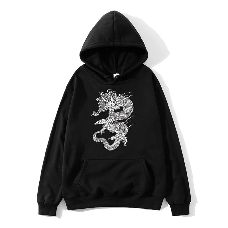 China Dragon Hooded Sweatshirt Men and Women Fashion Print Long Sleeves White Black Pullover Sweatshirt Chinese andDragon Hoodie