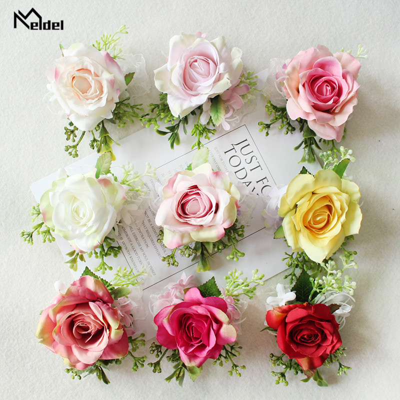 Meldel Wedding Boutonniere Groom Brooch Pins Bridal Wrist Corsage Girl Bracelet Silk Rose Party Prom Wedding Planner Flowers