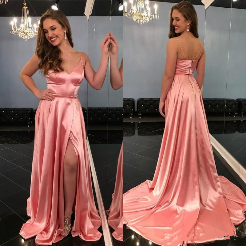 New Coming Satin   Prom     Dress   Spaghetti Straps Deep V Neck Formal Evening Party Gowns with High Split Sweep Train Custom Made