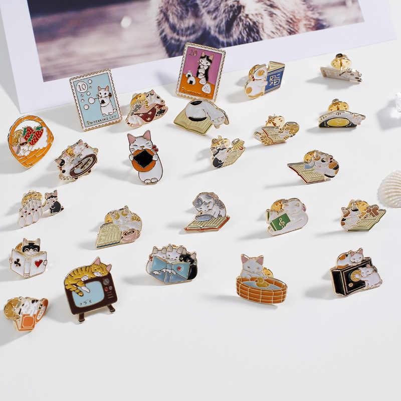 1 Pcs Kartun Harajuku Lucu Tetes Kucing Hidup Bros Di Ransel Bros Pin untuk Pakaian Logam Lencana untuk Wanita gadis Hadiah