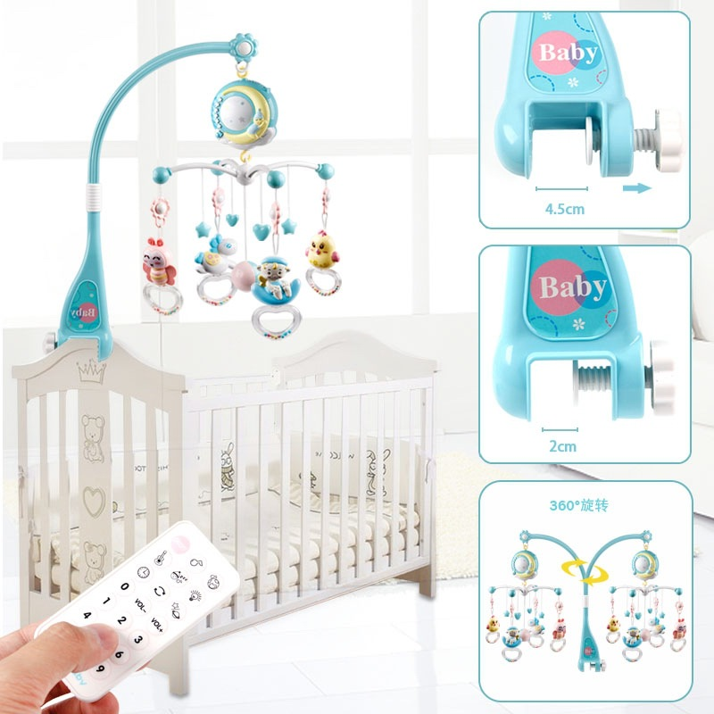 Crib Bell Rattle Toy Lovely Baby Cradle Seat Cot Hanging Toys Newborn Infant Boy Toy Holder Rotating Mobile Bed Bell Musical Box