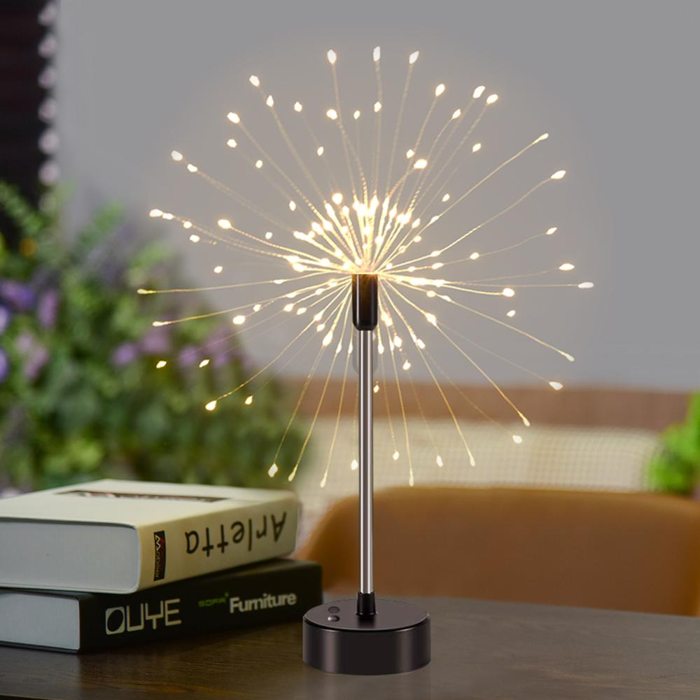 Christmas Lights Fairy Light Voice Control Fireworks Starburst Lights 120 LED String Light Battery Box Usb Dual Use