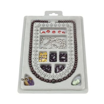 DIY Necklace Tray Design Bracelet Jewelry Making Tools Crafts Gifts Organizer Compartment Beads Beading Gray Flocked Board - discount item  35% OFF Jewelry Packaging & Display
