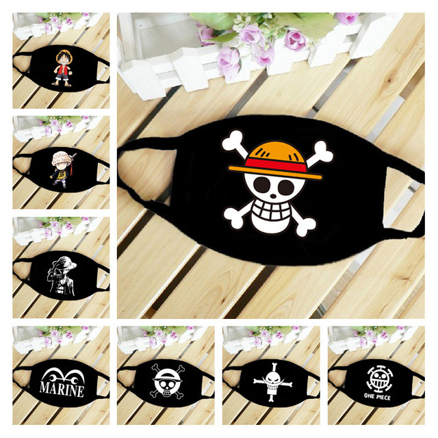 New Anime ONE PIECE Monkey D Luffy Skull The Straw Hat Pirates Symbol Trafalgar Law Cosplay Mask Sports Street Dust-Proof Masks