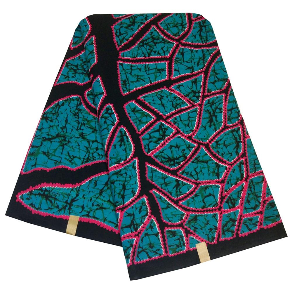 2019 AFashion Design Blue Polyester Black Tree Pattern Printed African Ankara Wax Fabric High Quality 6Yards