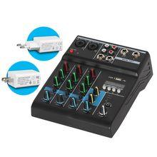 Professional Audio Mixer 4 Kanäle Bluetooth Sound Mischpult für Karaoke KTV mit USB Soundkarte Sound Effekte