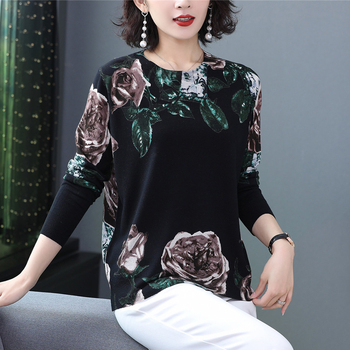 Autumn and winter new women's round neck pullover print loose large size long-sleeved sweater autumn and winter sweater 2019 autumn and winter new european and american women s round neck long sleeved printed lace slim a line dress