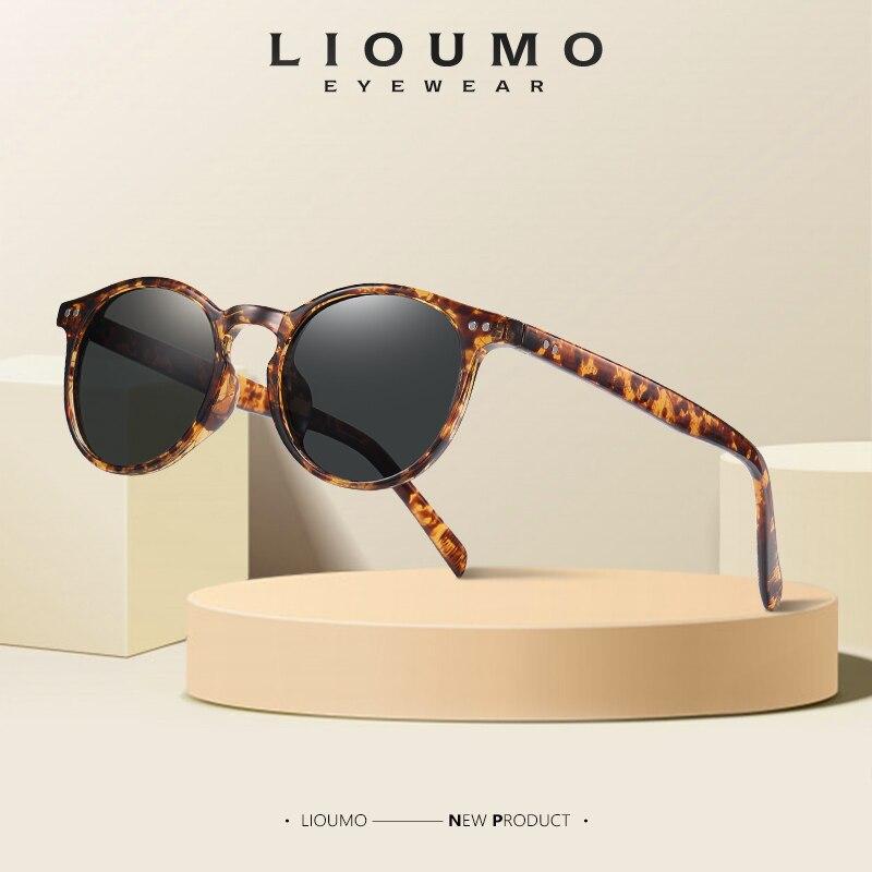 LIOUMO-gafas de sol redondas polarizadas para hombre y mujer, lentes de sol Unisex, estilo clásico Retro, adecuadas para conducir, con UV400