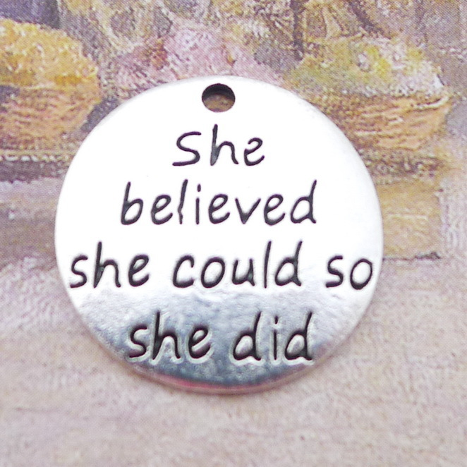 8pieces/lot 20*20mm She believed she could so she did Words Charms Antique silver color Metal Pendant Bracelet Diy accessory