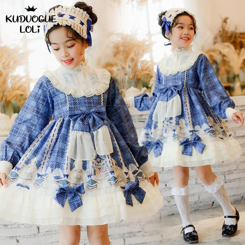 Girls Lolita OP Dress Long-sleeve Spanish Princess Children's Ruffles Students Ball Drama Party Kids Costumes Optional Headwear