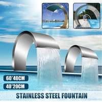 Fuente de acero inoxidable de gran alcance, 60x3, 0cm/40x20cm de zirconia cúbica, estanque, cascada para piscina