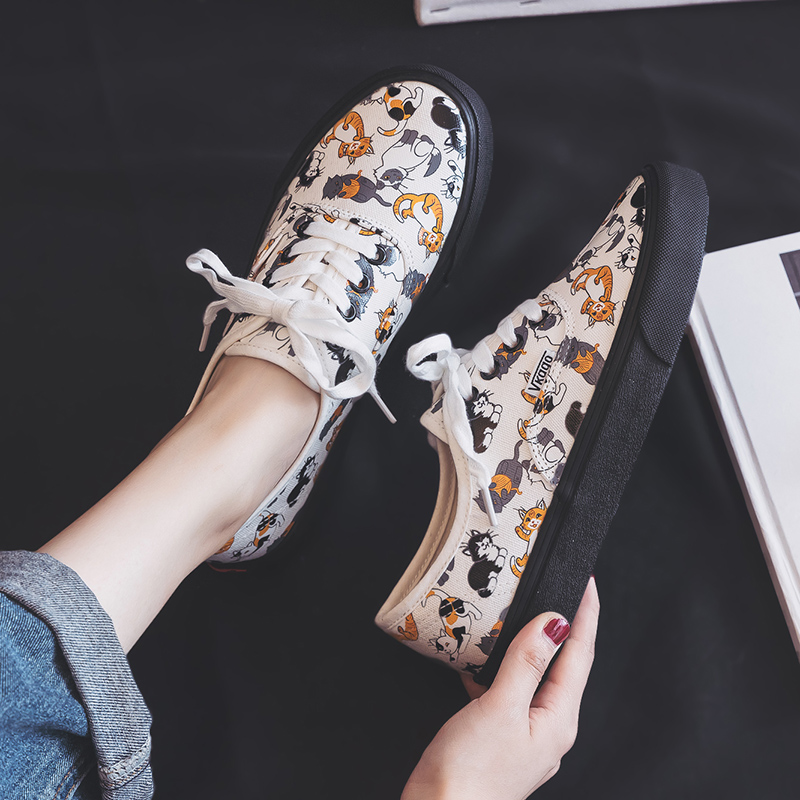 BONJEAN Shoes Women Spring 2019 New Canvas Girls Students Graffiti Shoes Kitty Cartoon Cat Korean Edition Ins Style White Shoes