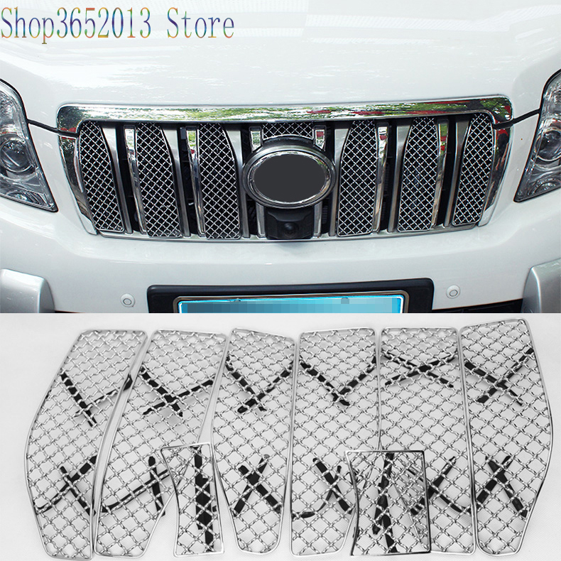 Honeycomb Front Grille Mesh Cover Trim 8pcs For Toyota Prado FJ150 2010-2013
