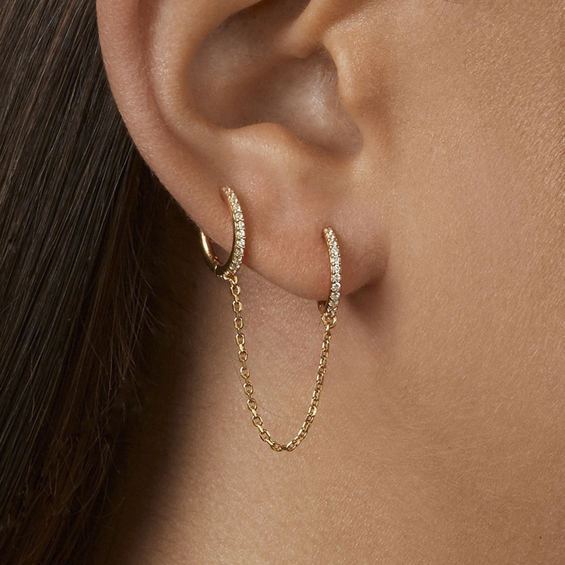1Pair Gothic Punk Handcuff Chain Earrings Real Crystal Rhinestone European Stud Earrings Link Chain For Women/Girl