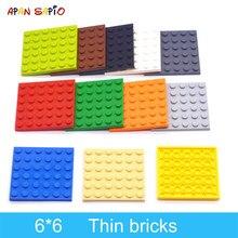 10 pçs diy blocos de construção figuras finas tijolos 6x6 pontos 12 cor educacional criativo tamanho compatível com lego brinquedos para crianças