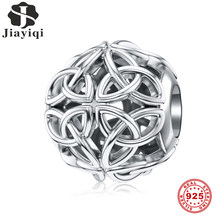 Jiayiqi Celtic Knot 925 Sterling Silver Hollow Charms Beads Fit Women Pandora Charms Silver 925 Original DIY Fine Jewelry Gift(China)
