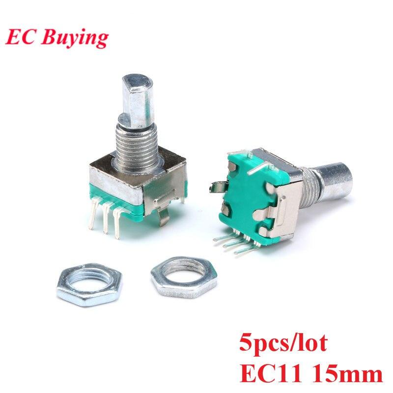 5 pièces codeur rotatif Code commutateur EC11 potentiomètre numérique poignée longueur 15mm avec interrupteur 5 broches