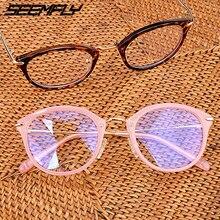 Seemfly Glasses Frame Men Women Anti Blue Light Myopia Eyeglasses Vintage Clear Lens Optical Spectacle Unisex Eyewear 2019