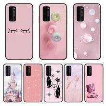 Castelo gato rosa caso de telefone casco para huawei honor 8 9 10 20 30 a s lite pro 5g i preto volta capa celular macia bonita