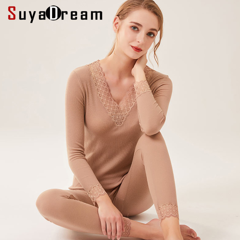 SuyaDream Women Autumn Winter Wool Long Johns 82%Wool 18%Silk Lace V Neck Solid Knitted Thermal Underwear 2019