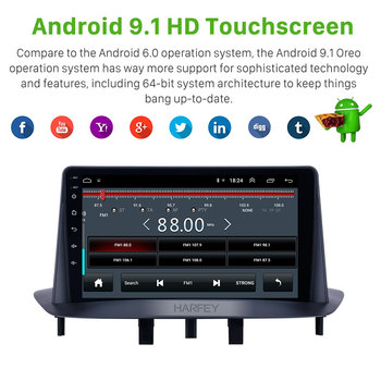 Harfey Car Navi Android 9.1 GPS Radio 9 HD Touchscreen for Renault Megane 3 2009 2010 2011 2012 2013 2014 support Carplay SWC image
