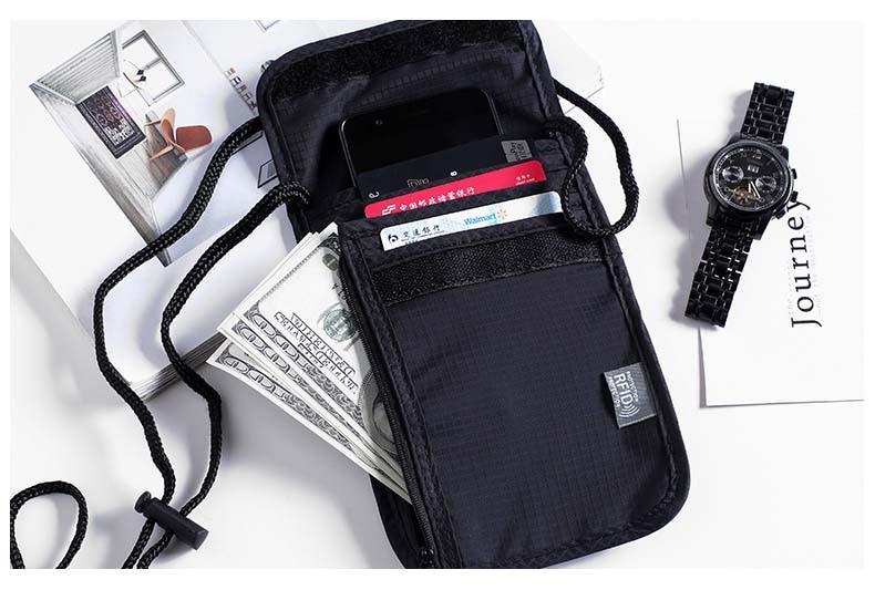 Waterproof nylon travel document storage pouch with RFID blocking