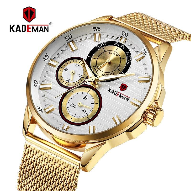 Nova chegada de luxo dos homens assista topo da marca kademan casual negócios masculino relógio aço completo 3atm esporte relógio de pulso presente original relogio