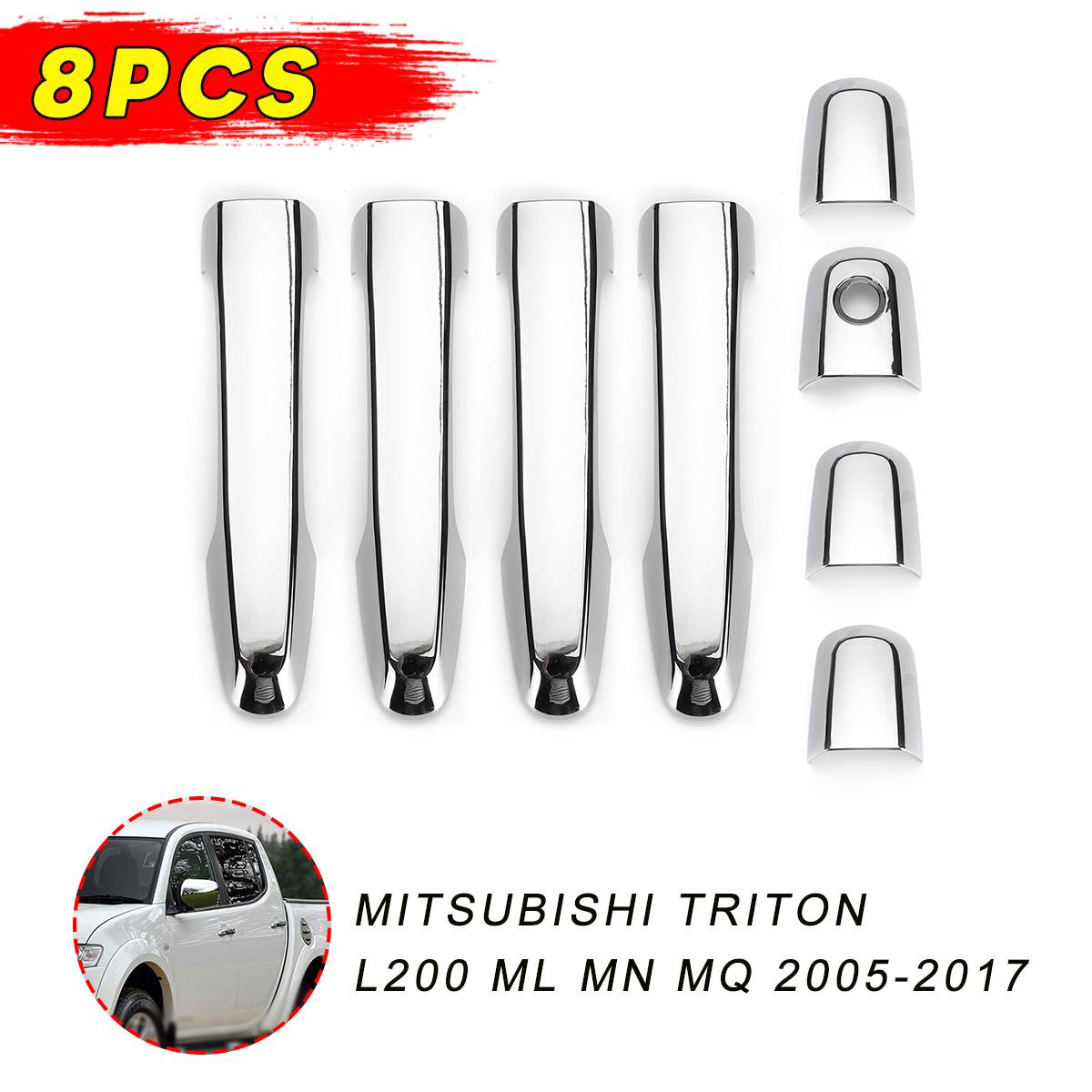 1 Set For Mitsubishi triton L200 ML MN MQ 2005-2017 Chrome Car Door Handle Cover Exterior Accessories image