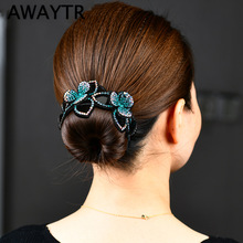 AWAYTR Rhinestone Hair Claws for Women Crystal Flower Hair Clips Barrettes Crab Ponytail Holder Hairpins Bands Hair Accessories
