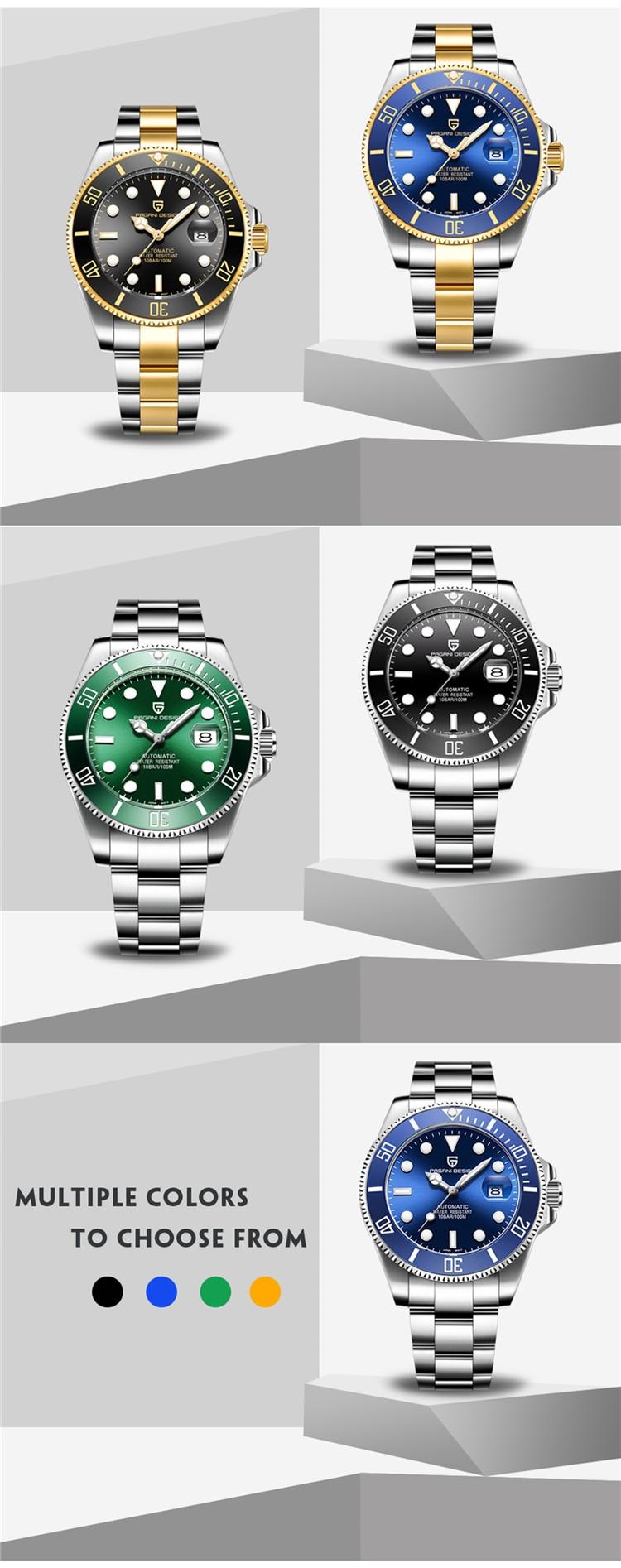 Hfc1c57c069e64afbbd474da7ee2f28ecf PAGANI Design Brand Luxury Men Watches Automatic Black Watch Men Stainless Steel Waterproof Business Sport Mechanical Wristwatch