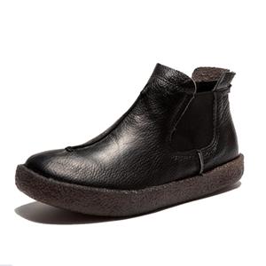 Image 5 - 2020 femmes angleterre Style flambant neuf femmes en cuir véritable bottes plates chaussures pour dame automne bottines hiver rétro Martin bottes