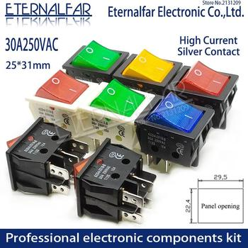 KCD4 spawarka elektryczna przełącznik kołyskowy z czerwony zielony niebieski żółty światła 30A 250V AC piekarnik grzejnik elektryczny 4PIN DIP6 T8555 tanie i dobre opinie ETERNALFAR CN (pochodzenie) High-Current Miedziane 365 day KCD4-201N-B Square Shape 30*23mm Red Yellow Blue Green