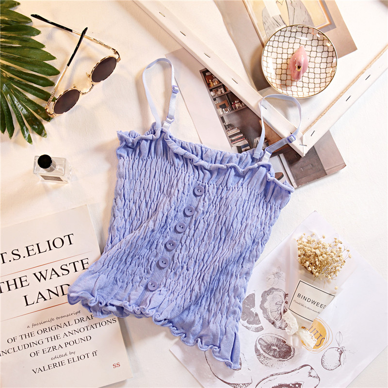 HELIAR Purple Tops Flounce Hem Knitted Camis Cute Crop Tops Buttons Camisole Ladies Camis Sleveeless Spaghetti Top For Women