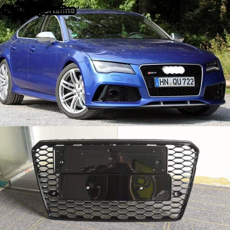 A7 RS7 Style Emblem Logo Front Honeycomb Bumper Mesh Grill Guard For Audi A7 RS7 S7 2012-2015
