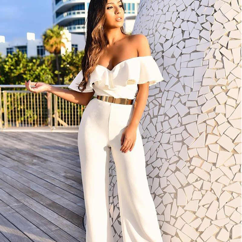 2020 Elegant Ruffle Summer Party Jumpsuit Women Sexy Off Shoulder Office Jumpsuit Overalls White Red Wide Leg Jumpsuits Rompers