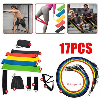 17Pcs/Set Latex Resistance Bands Set Yoga Exercise Fitness Band Rubber Loop Tube Bands Gym Door Anchor Ankle Straps With Bag Kit resistance band 11pc set with door anchor ankle straps foam handles