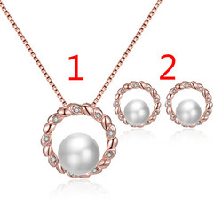 GU15 Women Round Jewelry Set Electroplating Alloy Pearl Necklace Earring Set  wedding jewelry